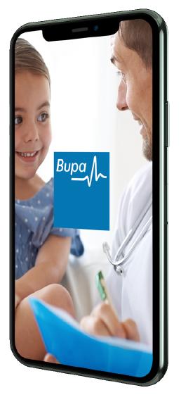 Foto de un dispositivo con la app Mi Bupa